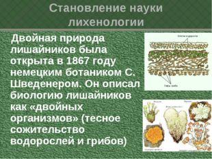 Становление науки лихенологии Двойная природа лишайников была открыта в 1867