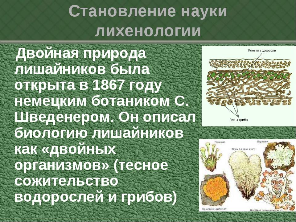 Становление науки лихенологии Двойная природа лишайников была открыта в 1867...