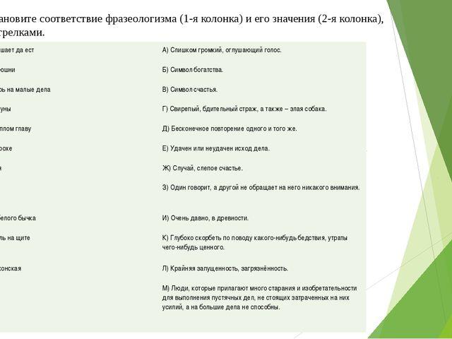 4 задание. Установите соответствие фразеологизма (1-я колонка) и его значения...