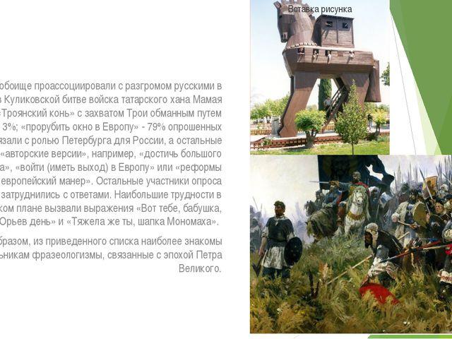 Мамаево побоище проассоциировали с разгромом русскими в 1380 году в Куликовск...
