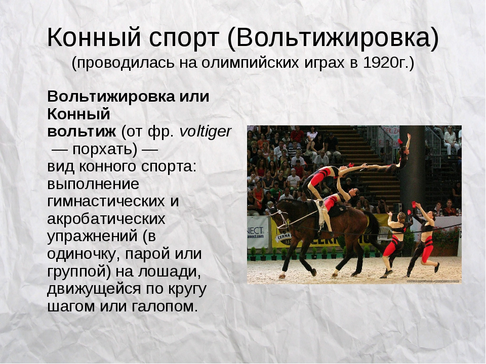 Конный спорт (Вольтижировка) (проводилась на олимпийских играх в 1920г.) Воль...