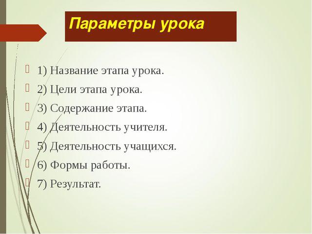 Параметры урока 1) Название этапа урока. 2) Цели этапа урока. 3) Содержание э...