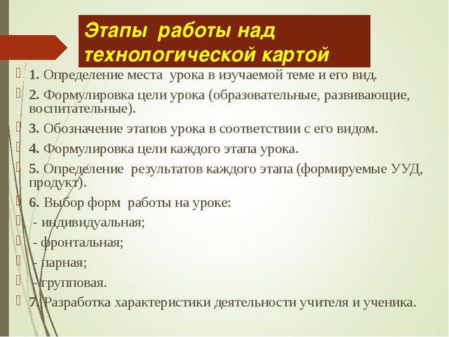 Этапы работы над технологической картой 1. Определение места урока в изучаемо...