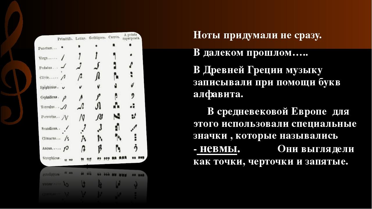 Ноты придумали не сразу. В далеком прошлом….. В Древней Греции музыку записы...