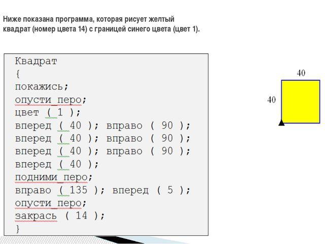 Ниже показана программа, которая рисует желтый квадрат (номер цвета 14) с гр...