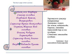 Хунчугештин байыр чедириишкини Частын башкы айында, Чаяатынган коллегаларывыс
