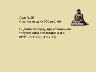 Лот №15 Стартовая цена 300 рублей Оцените площадь прямоугольного треугольника