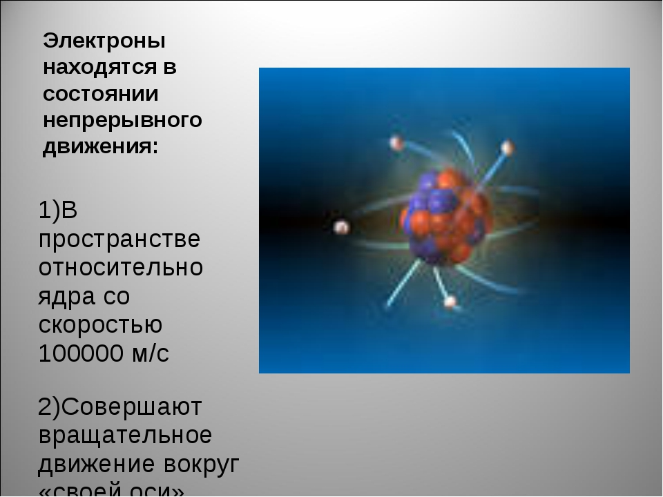 Электроны находятся в состоянии непрерывного движения: 1)В пространстве относ...