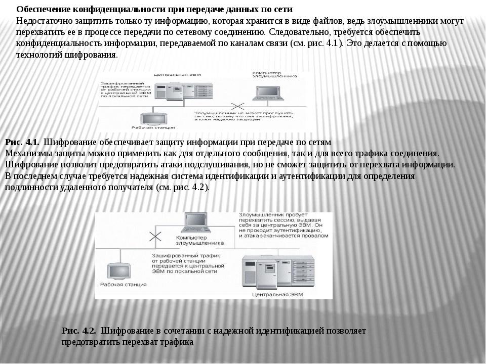 Обеспечение конфиденциальности при передаче данных по сети Недостаточно защит...