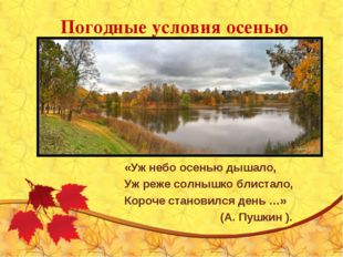 Погодные условия осенью «Уж небо осенью дышало, Уж реже солнышко блистало, Ко