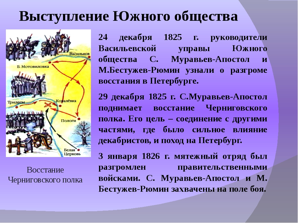 Выступление Южного общества 24 декабря 1825 г. руководители Васильевской упра...