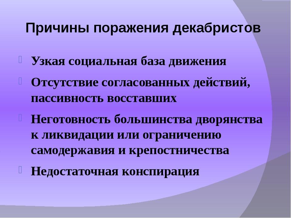 Причины поражения декабристов Узкая социальная база движения Отсутствие согла...