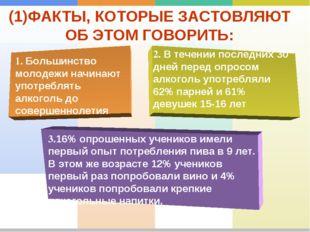 (1)ФАКТЫ, КОТОРЫЕ ЗАСТОВЛЯЮТ ОБ ЭТОМ ГОВОРИТЬ: 1. Большинство молодежи начина