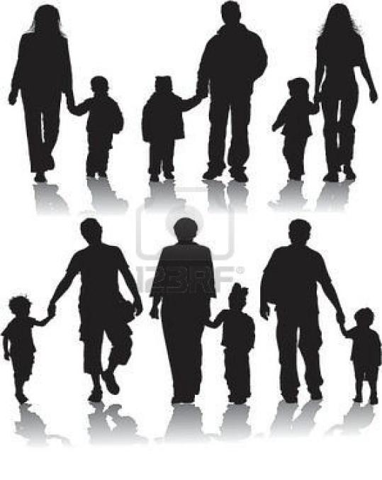 Векторные силуэты родителей с детьми, иллюстрации Фото со стока - 528682