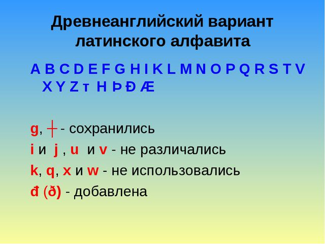 Древнеанглийский вариант латинского алфавита A B C D E F G H I K L M N O P Q...