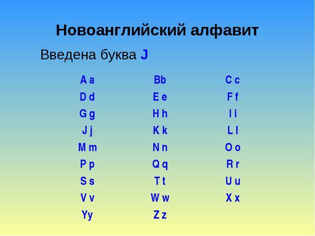 Новоанглийский алфавит Введена буква J A aBbC c D dE eF f G gH hI i J j...