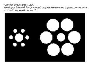 Иллюзия Эббингауза (1902). Какой круг больше? Тот, который окружен маленькими