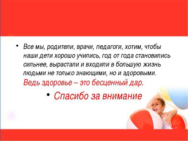 Все мы, родители, врачи, педагоги, хотим, чтобы наши дети хорошо учились, год...