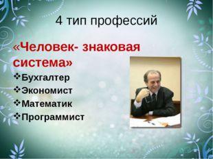 4 тип профессий «Человек- знаковая система» Бухгалтер Экономист Математик Про