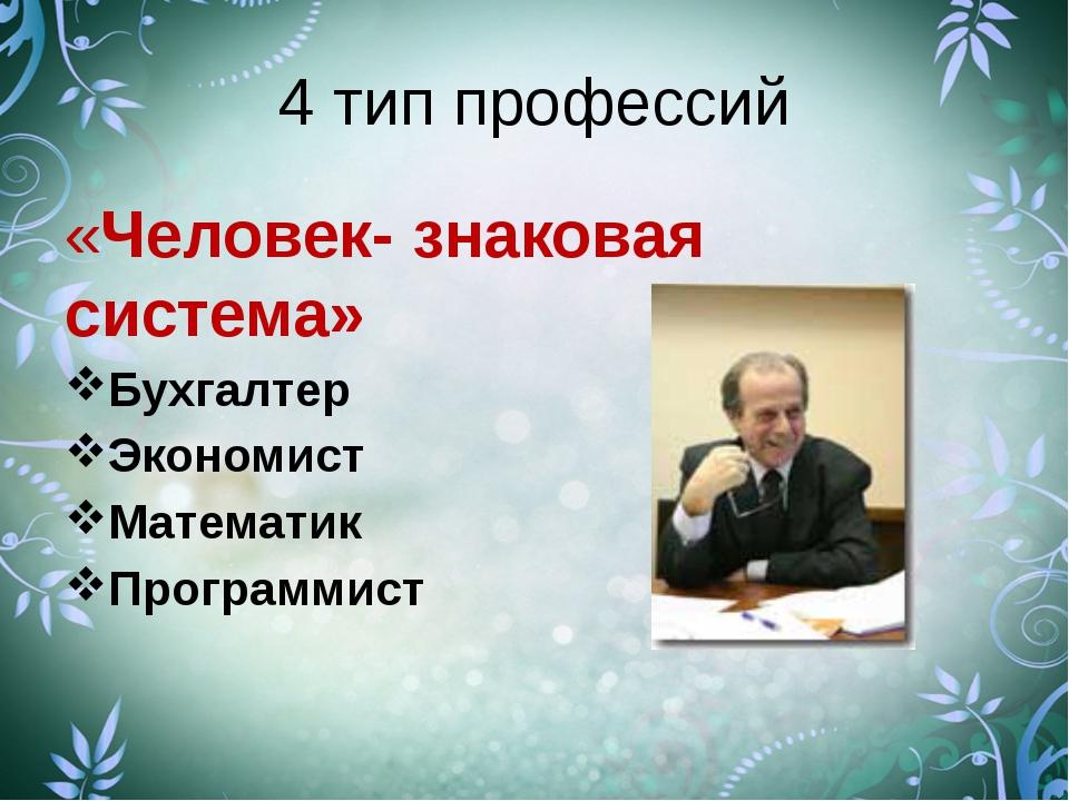 4 тип профессий «Человек- знаковая система» Бухгалтер Экономист Математик Про...