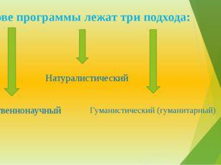 В основе программы лежат три подхода: Естественнонаучный Натуралистический Гу