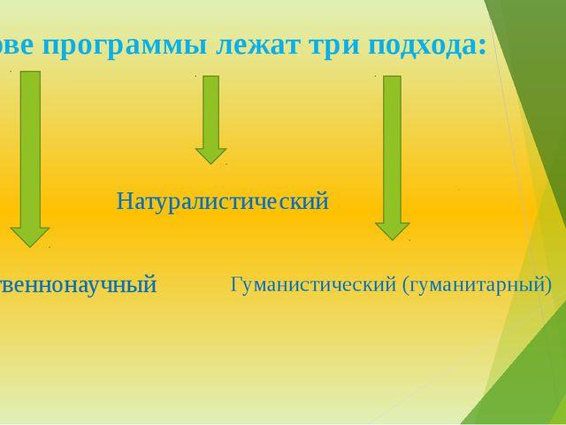 В основе программы лежат три подхода: Естественнонаучный Натуралистический Гу...