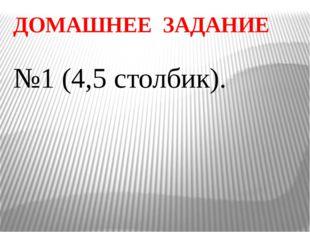 ДОМАШНЕЕ ЗАДАНИЕ №1 (4,5 столбик).