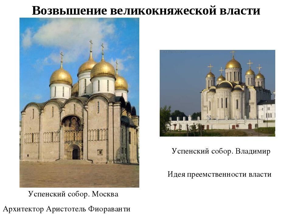 Успенский собор. Москва Архитектор Аристотель Фиораванти Возвышение великокня...