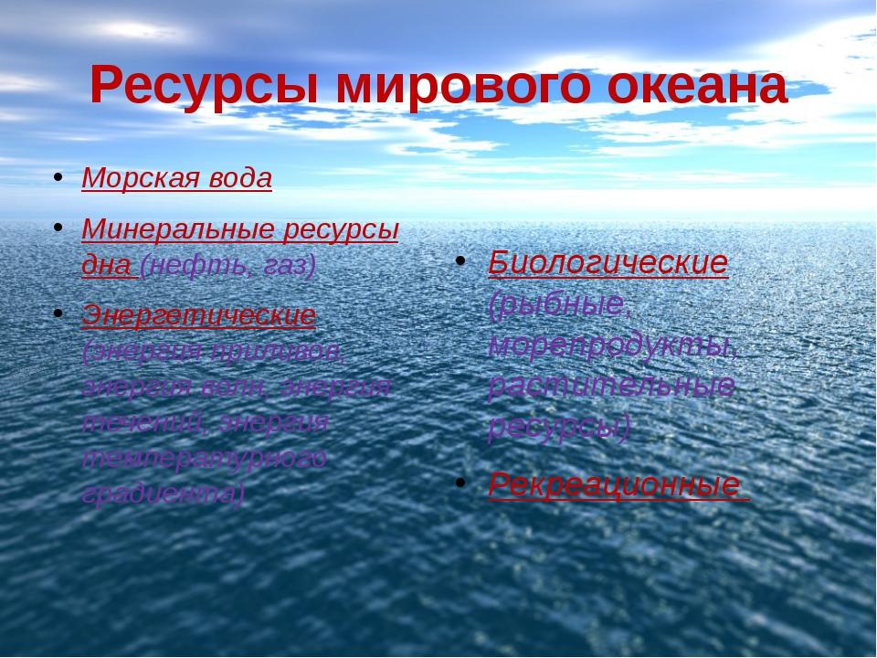 Ресурсы мирового океана Морская вода Минеральные ресурсы дна (нефть, газ) Эне...
