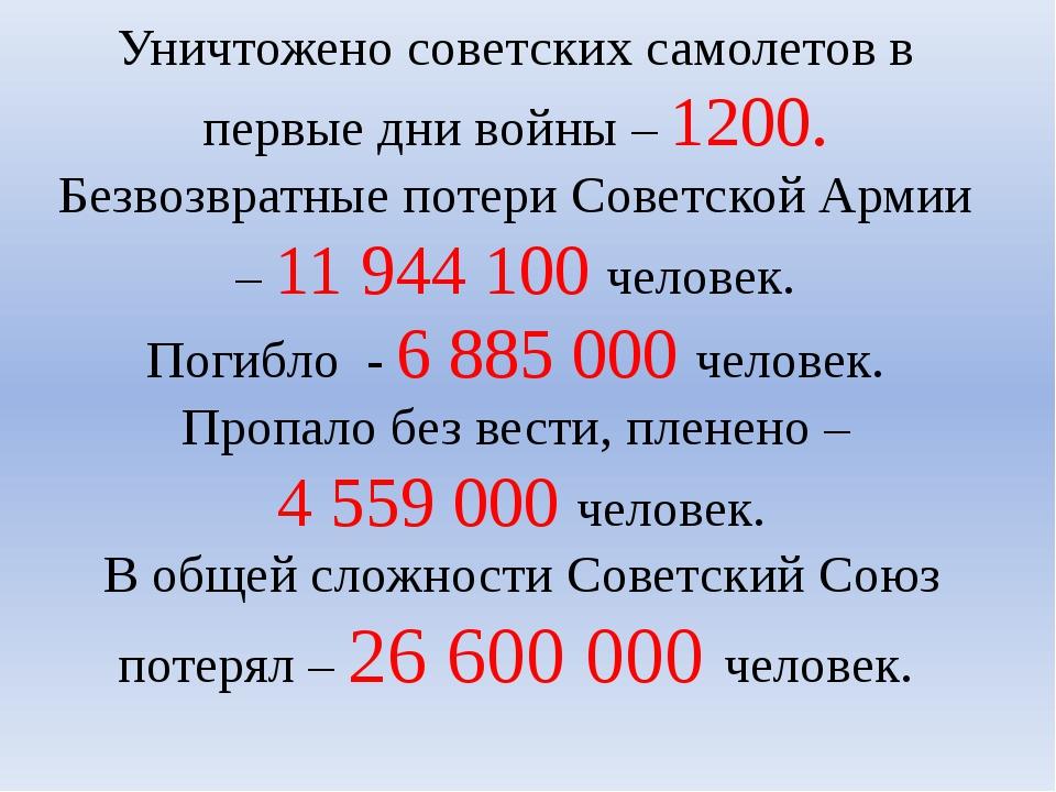 Уничтожено советских самолетов в первые дни войны – 1200. Безвозвратные потер...