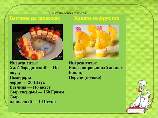 Практическая работа Ветчина на шпажках Канапе из фруктов Ингредиенты: Хлеб бо...