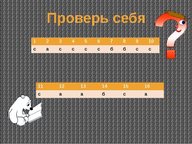 Проверь себя 1 2 3 4 5 6 7 8 9 10 с а с с с с б б с с 11 12 13 14 15 16 с а а...