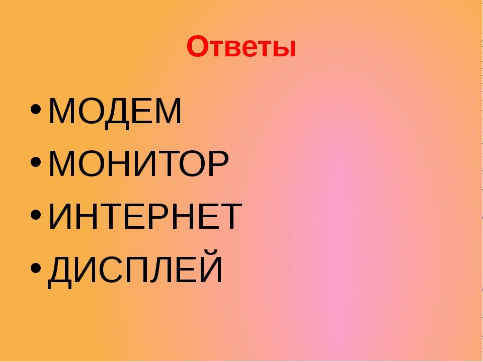 Ответы МОДЕМ МОНИТОР ИНТЕРНЕТ ДИСПЛЕЙ