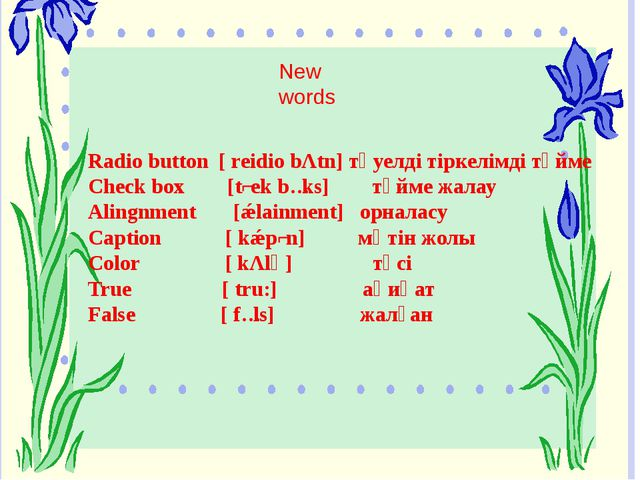 Font [fɔnt] қаріп Enable [ eneibl] қорғаныс қою Visible [vizbl] көрініс Chec...