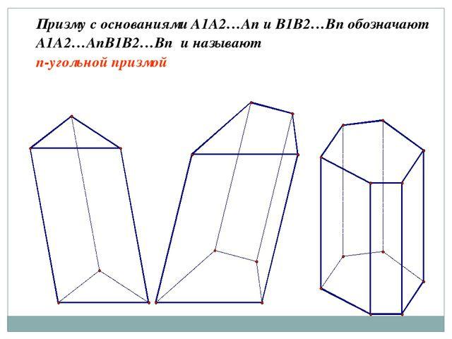 Призму с основаниями A1A2…An и B1B2…Bn обозначают A1A2…AnB1B2…Bn и называют n...