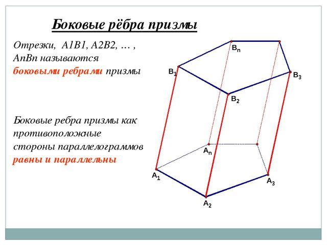 Боковые рёбра призмы Отрезки, A1B1, A2B2, … , AnBn называются боковыми ребрам...