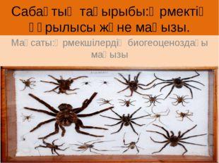 Сабақтың тақырыбы:Өрмектің құрылысы және маңызы. Мақсаты:Өрмекшілердің биогео