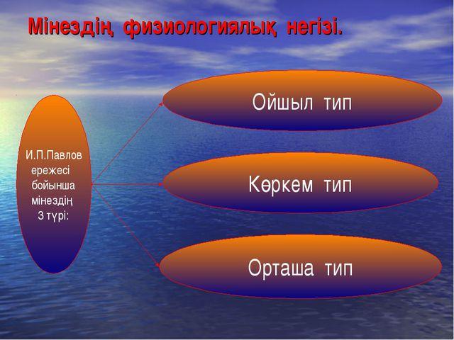 Мінездің физиологиялық негізі. И.П.Павлов ережесі бойынша мінездің 3 түрі: Кө...