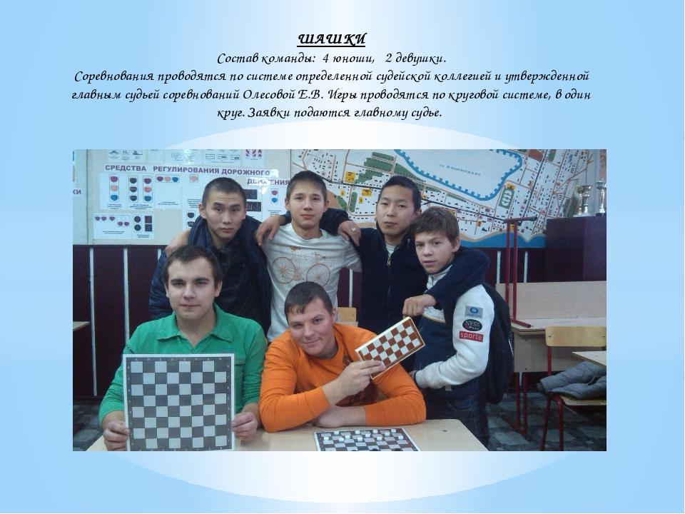 ШАШКИ Состав команды: 4 юноши, 2 девушки. Соревнования проводятся по системе...