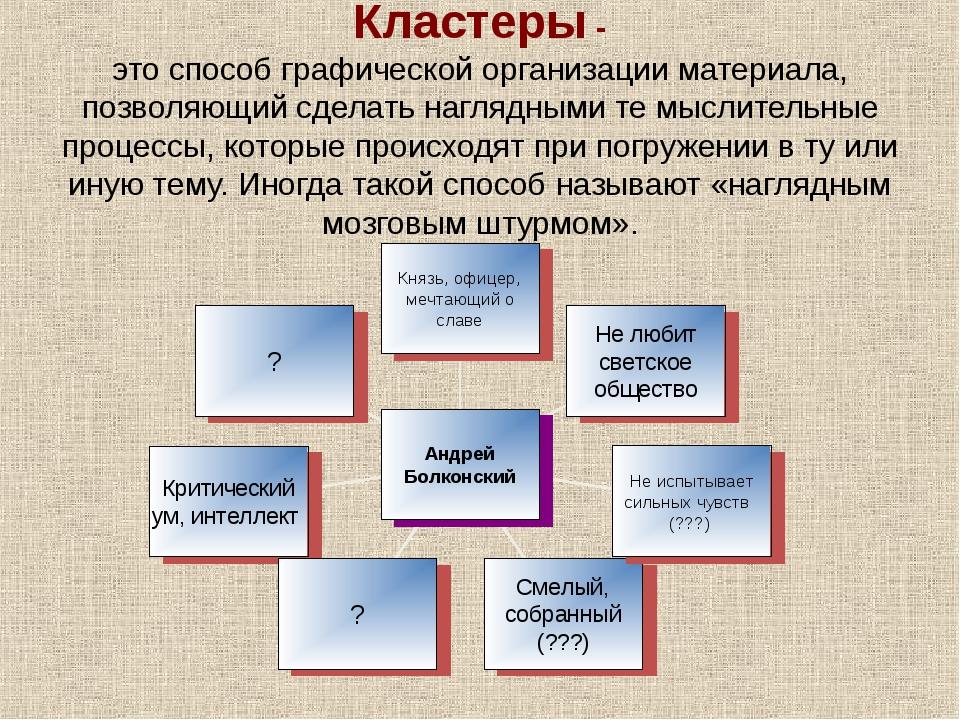 Кластеры - это способ графической организации материала, позволяющий сделать...