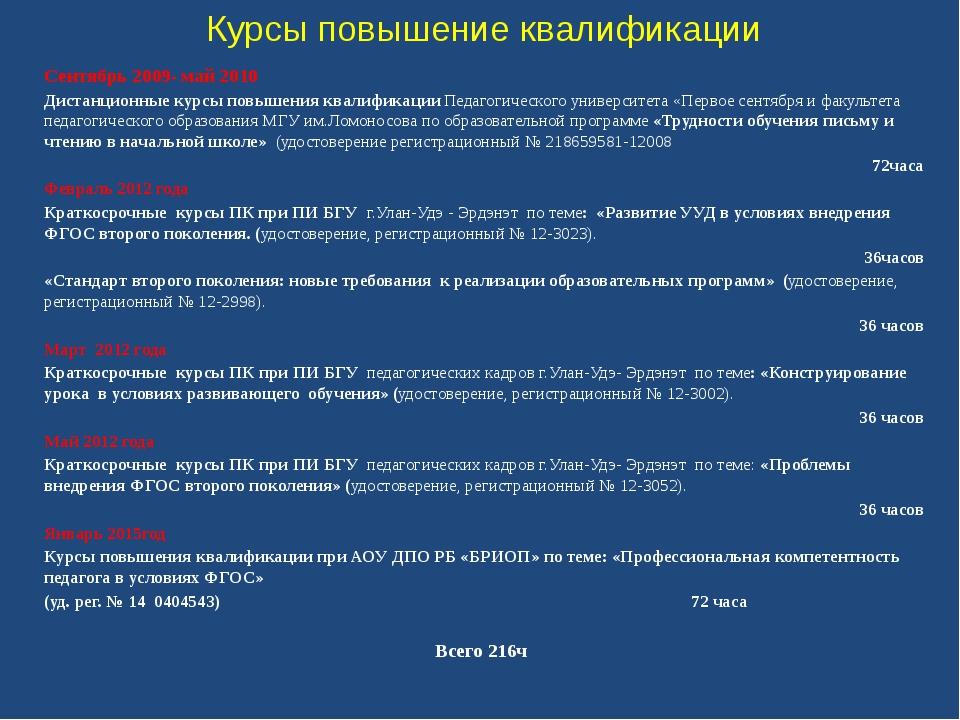 Курсы повышение квалификации Сентябрь 2009- май 2010 Дистанционные курсы повы...