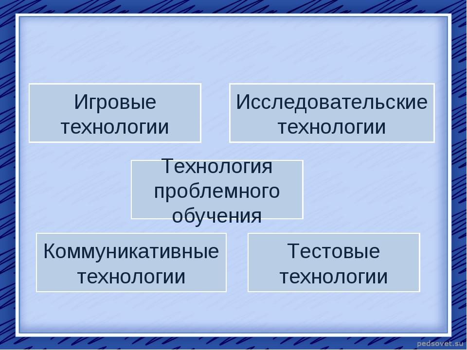 Технология проблемного обучения Игровые технологии Тестовые технологии Коммун...