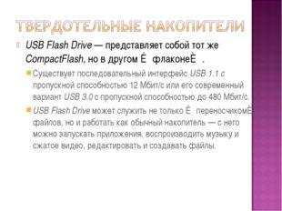 USB Flash Drive — представляет собой тот же CompactFlash, но в другом ≪флакон