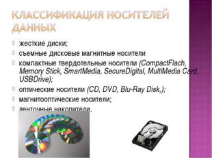 жесткие диски; съемные дисковые магнитные носители компактные твердотельные н