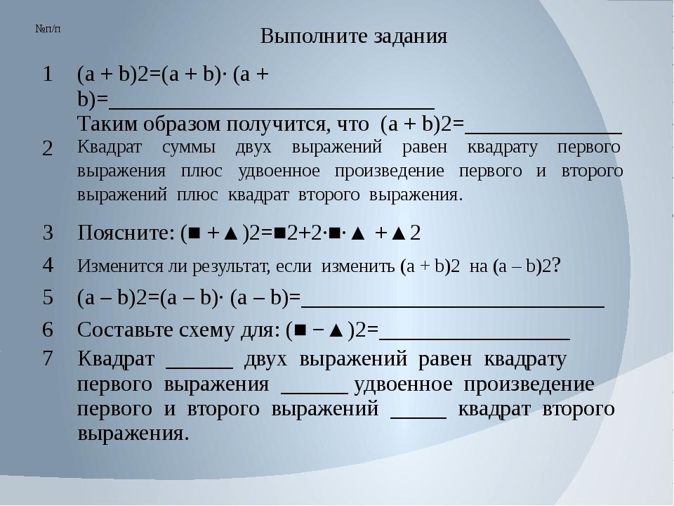 №п/п Выполните задания 1 (а + b)2=(а + b)∙ (а + b)=__________________________...