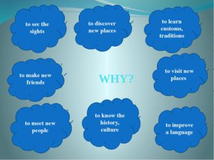 WHY? to learn customs, traditions to know the history, culture to discover n