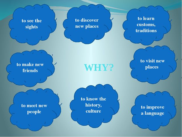 WHY? to learn customs, traditions to know the history, culture to discover n...