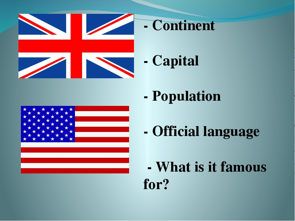 - Continent - Capital - Population - Official language - What is it famous f...