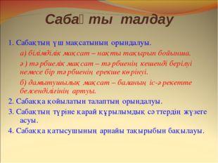 Сабақты талдау 1. Сабақтың үш мақсатының орындалуы. а) білімділік мақсат – на