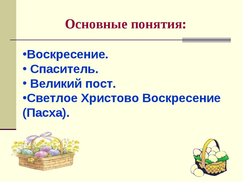 Основные понятия: Воскресение. Спаситель. Великий пост. Светлое Христово Воск...